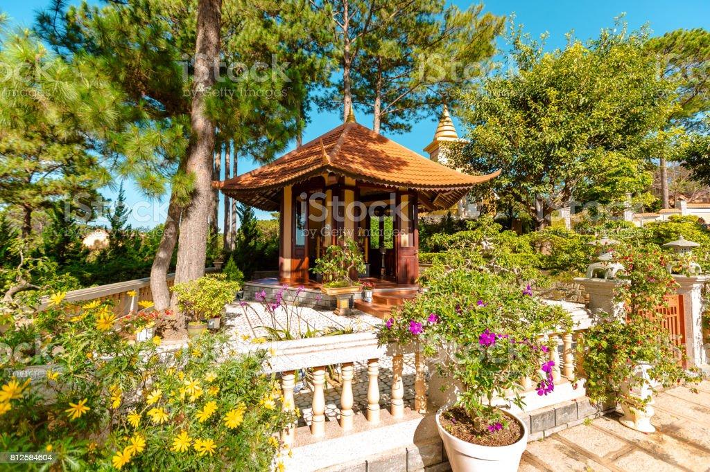 Old Temples in Da Lat, Vietnam. Linh Son pagoda stock photo