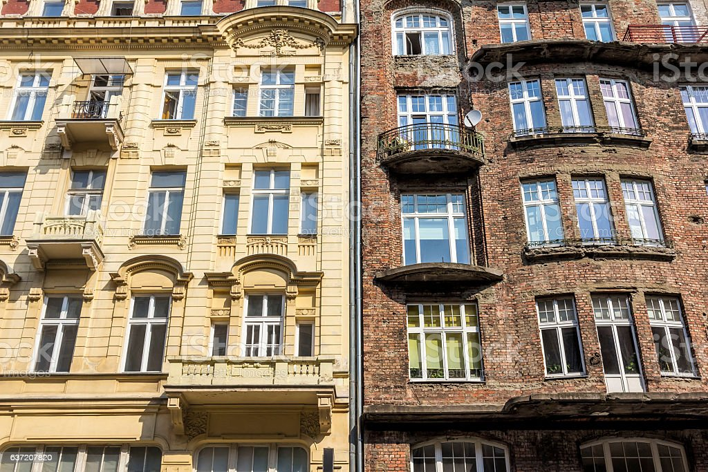 Old tenements in Warsaw, Poland stock photo