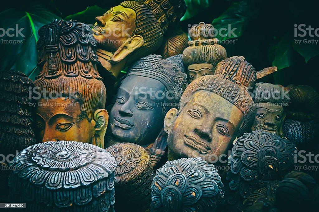 old terracotta Buddah heads stock photo
