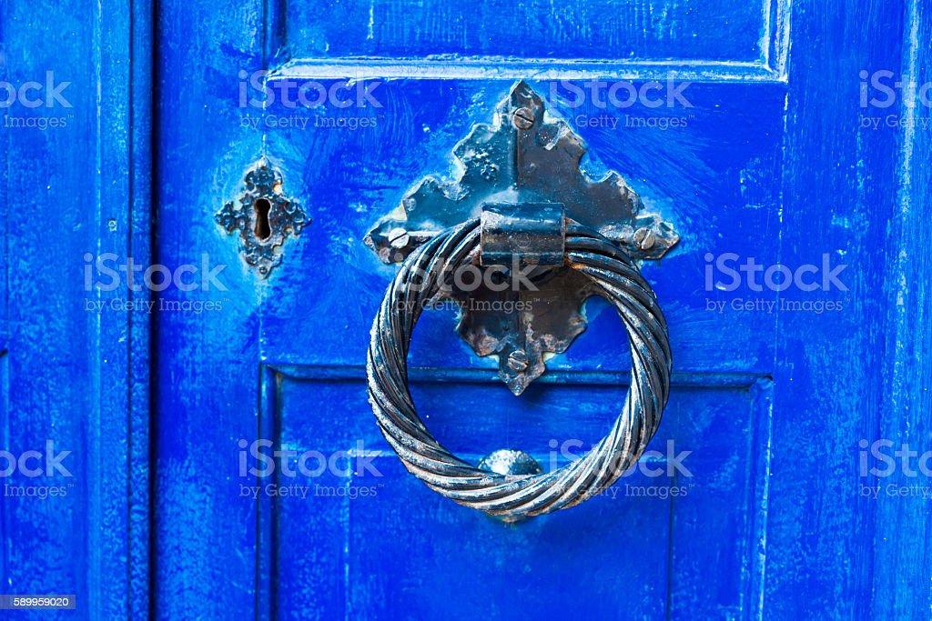 Old textured Blue wooden door stock photo