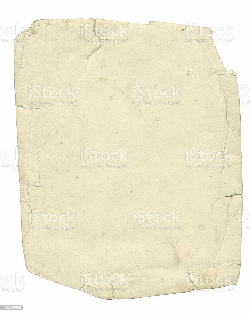 Old textured paper with tattered edge and clipping path. royalty-free stock photo