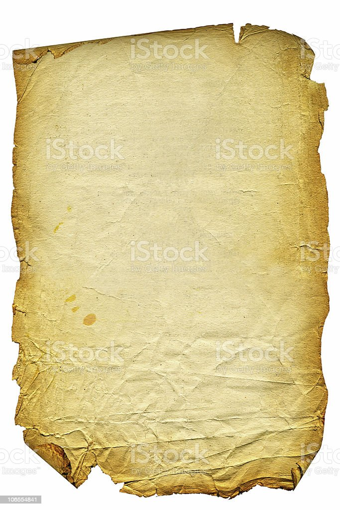Old textured paper with tattered edge. Over white stock photo