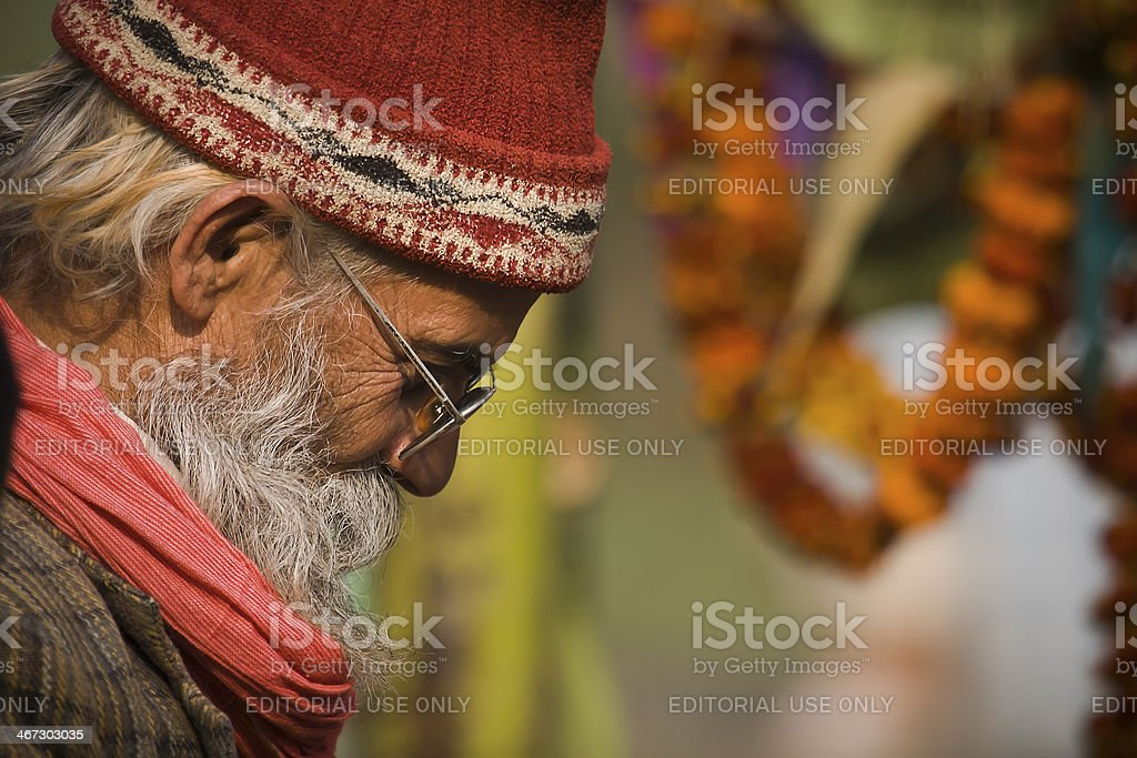 old tharu man portrait in west part of Nepal royalty-free stock photo