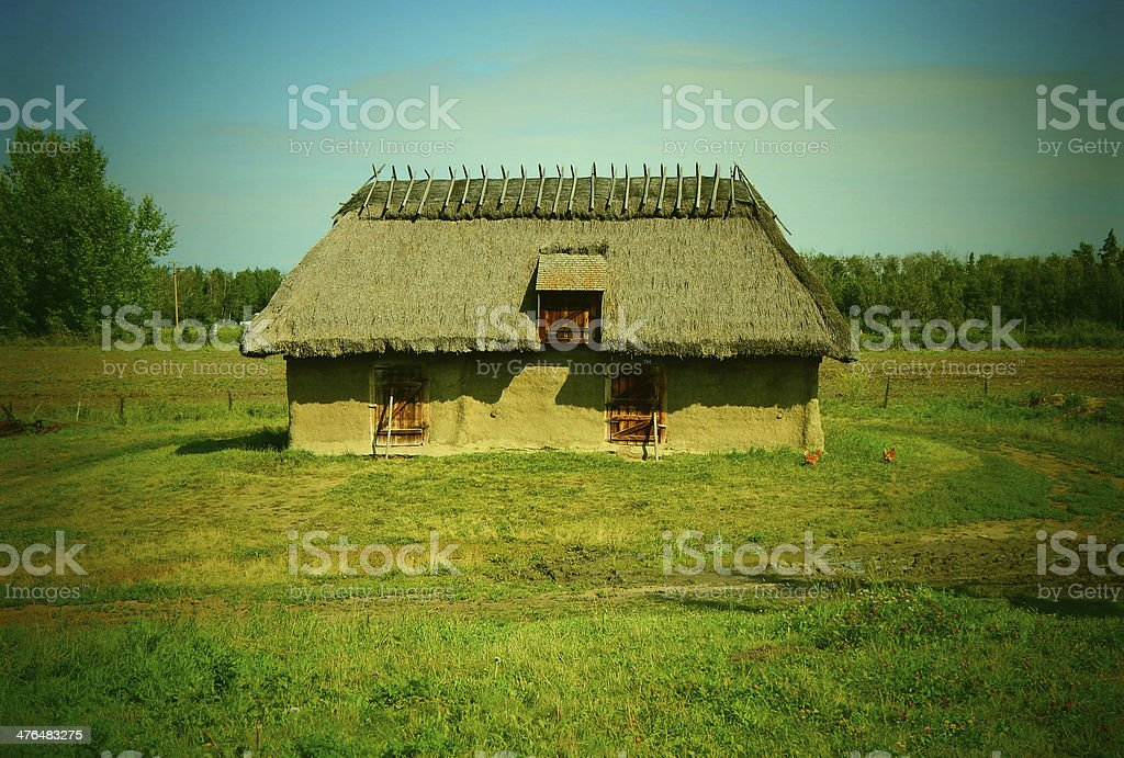 Old Thatched Farm Building Photo royalty-free stock photo