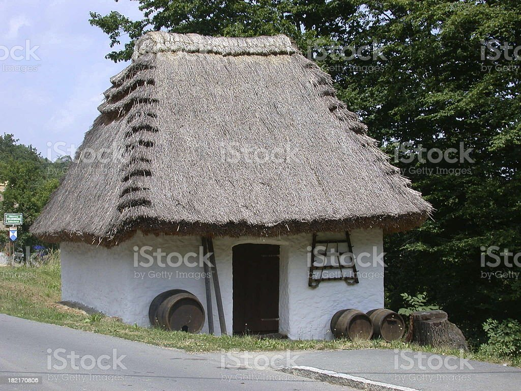 old thatched house royalty-free stock photo