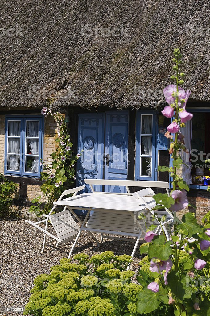old thatched roof house in Kappeln stock photo