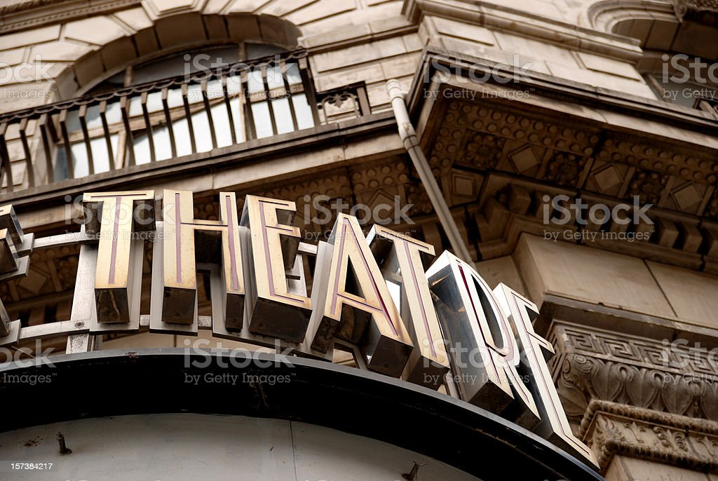 Old theatre sign stock photo