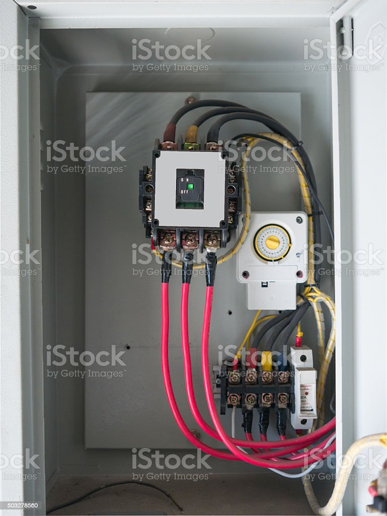 Old three phase circuit breaker in old electrical panel board. royalty-free stock photo