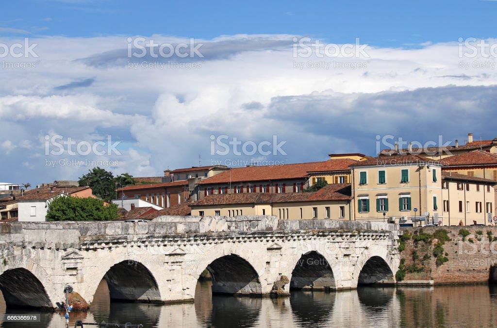 old Tiberius bridge landmark Rimini Italy stock photo
