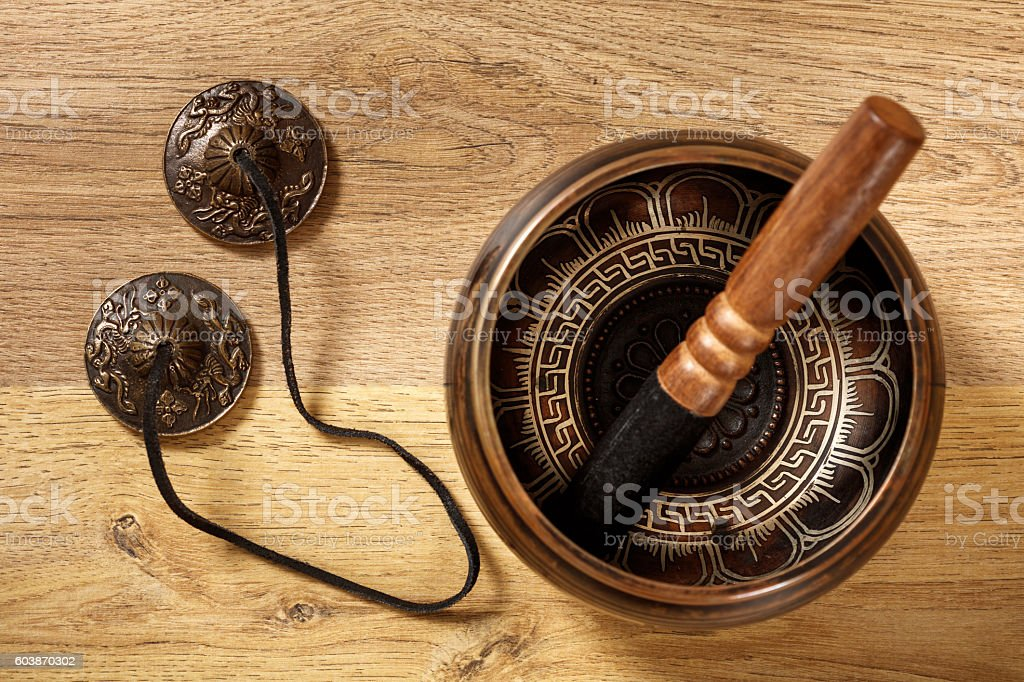 Old tibetan bowl stock photo