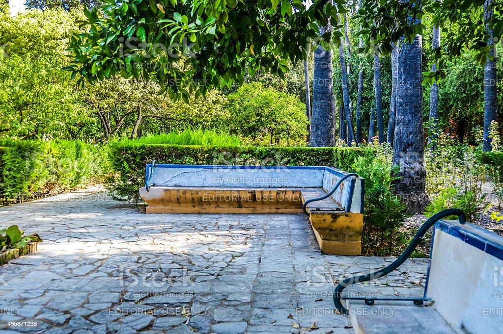 Old tile bench in Spain stock photo