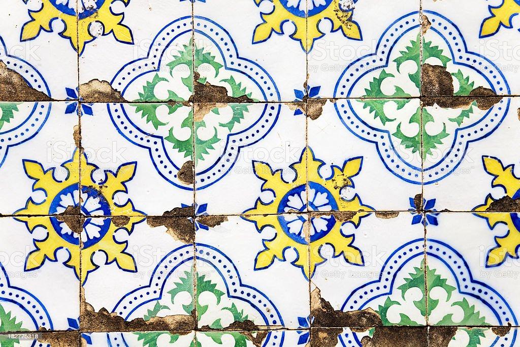 Old tiled facade stock photo