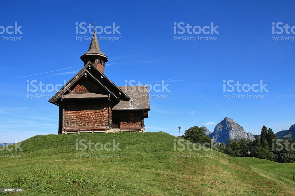 Old timber chapel in Stoos stock photo