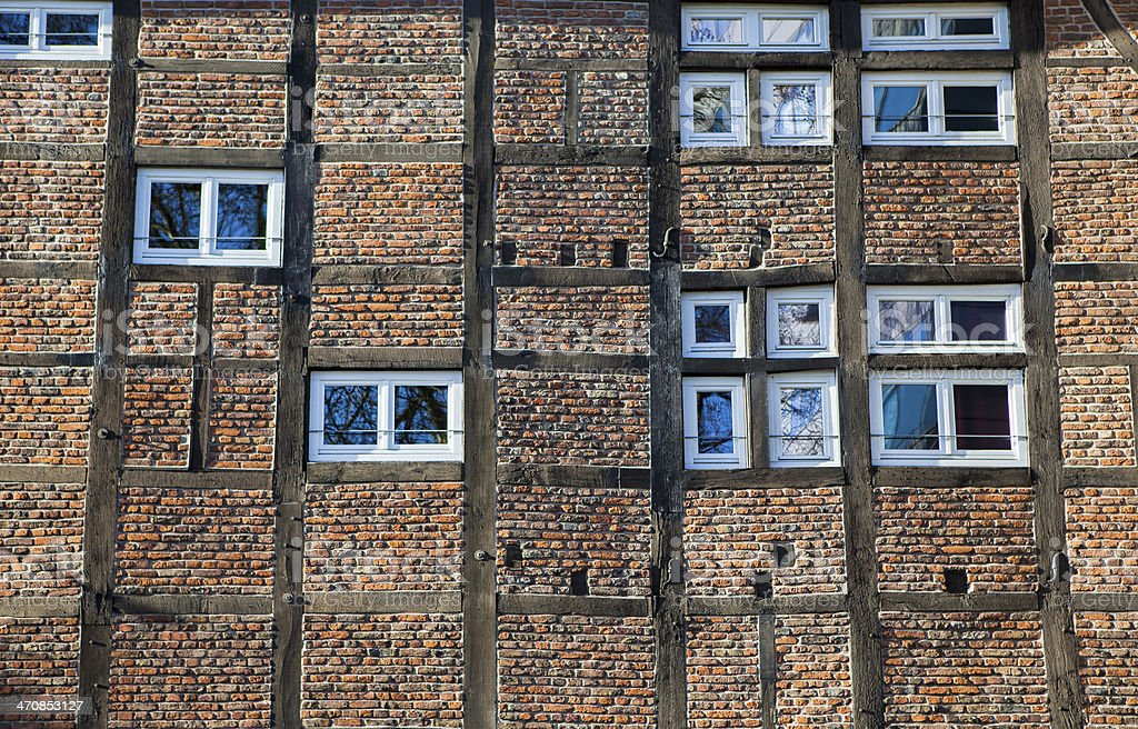Old timbered house wall stock photo