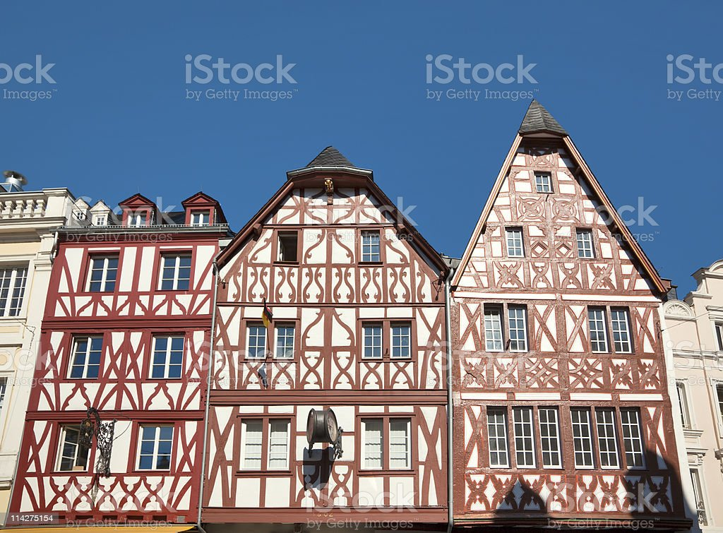 old timber-frame houses at Trier stock photo