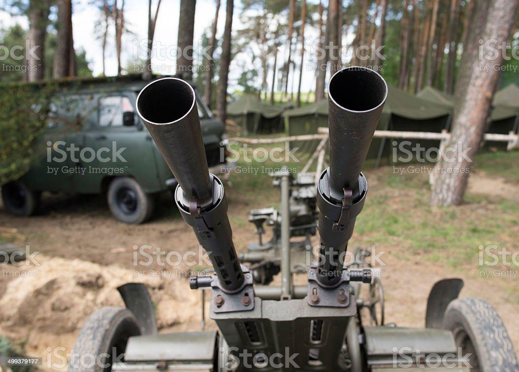 Old time Anti aircraft machine gun stock photo