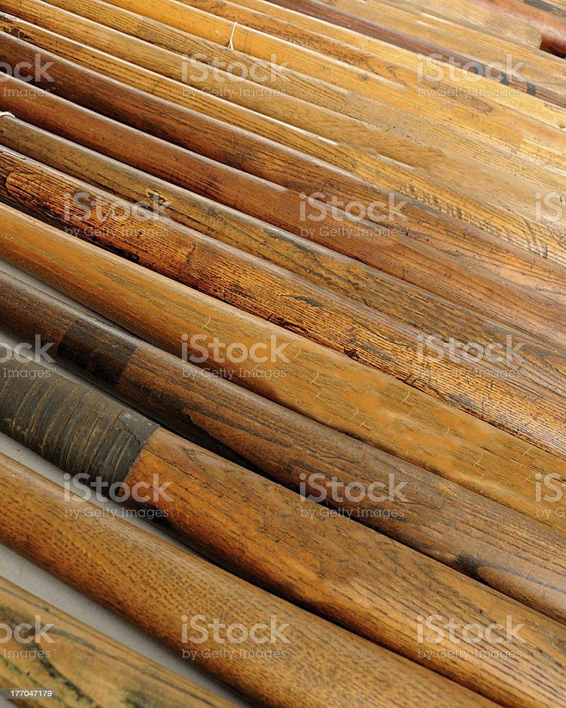 old time baseball bats stock photo
