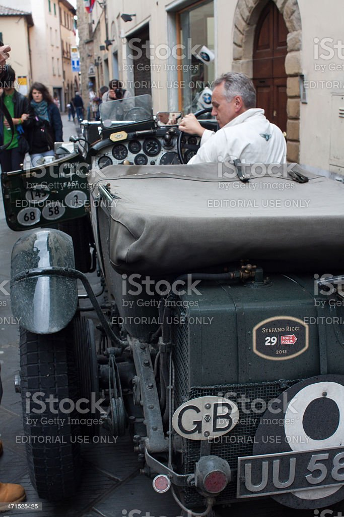 Old time Bentley 4 at Mille miglia stock photo
