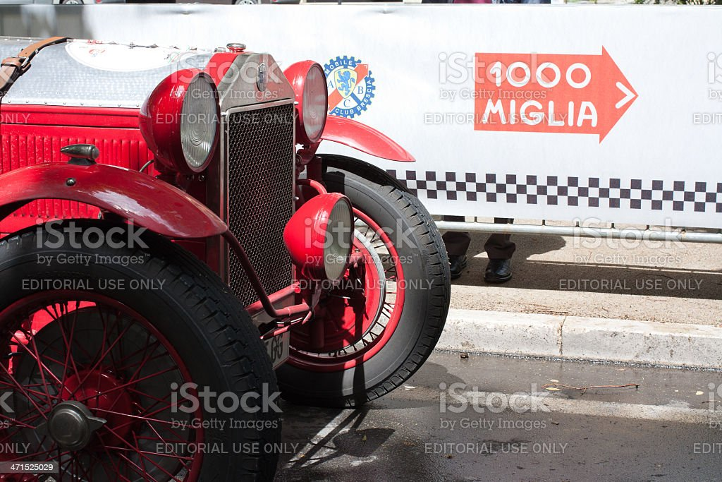 Old time car Lancia Lambda serie VII at mille miglia stock photo