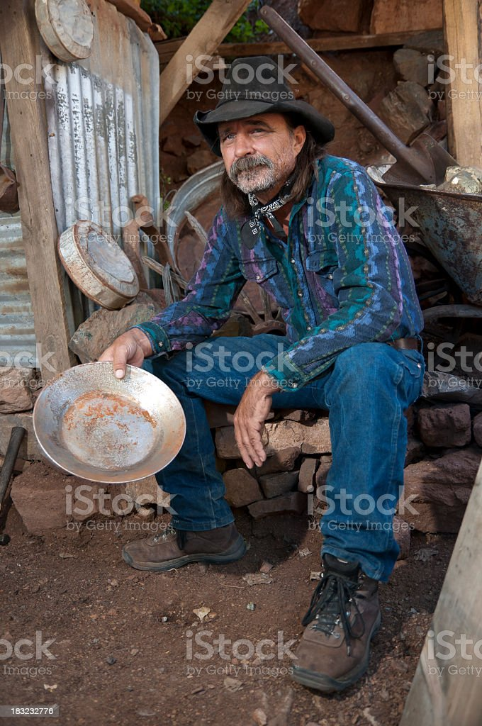 Old Time Gold Miner Sitting stock photo