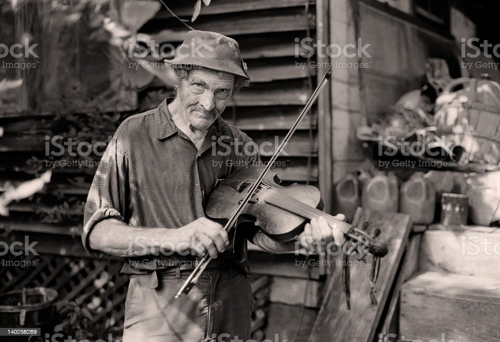 Old time mountain fiddle player (1980) stock photo