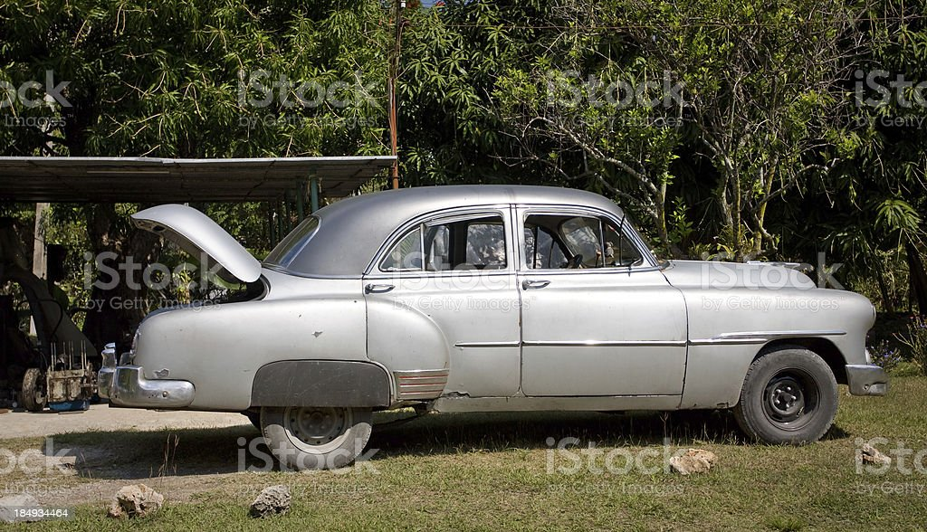 Old timer being repaired in Havana, Cuba royalty-free stock photo