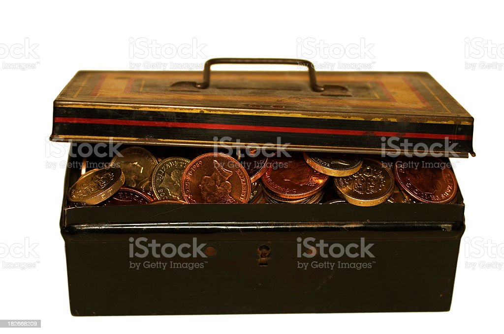 Battered old treasure chest copper and gold coins royalty-free stock photo