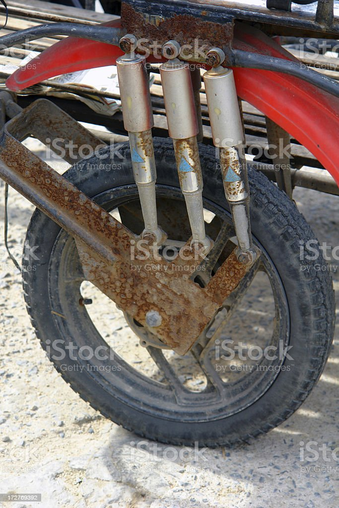 Old Tire of a Motorcycle stock photo