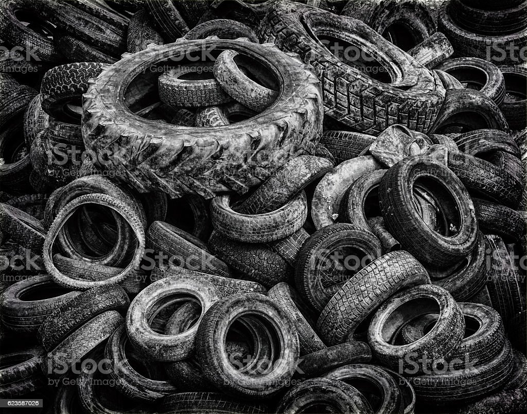 Old tires. Black and white image stock photo