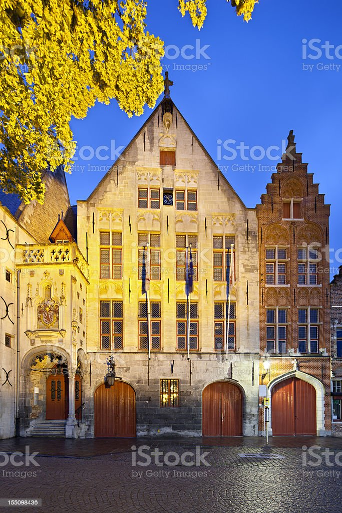 Old Toll House Of Bruges At Night stock photo