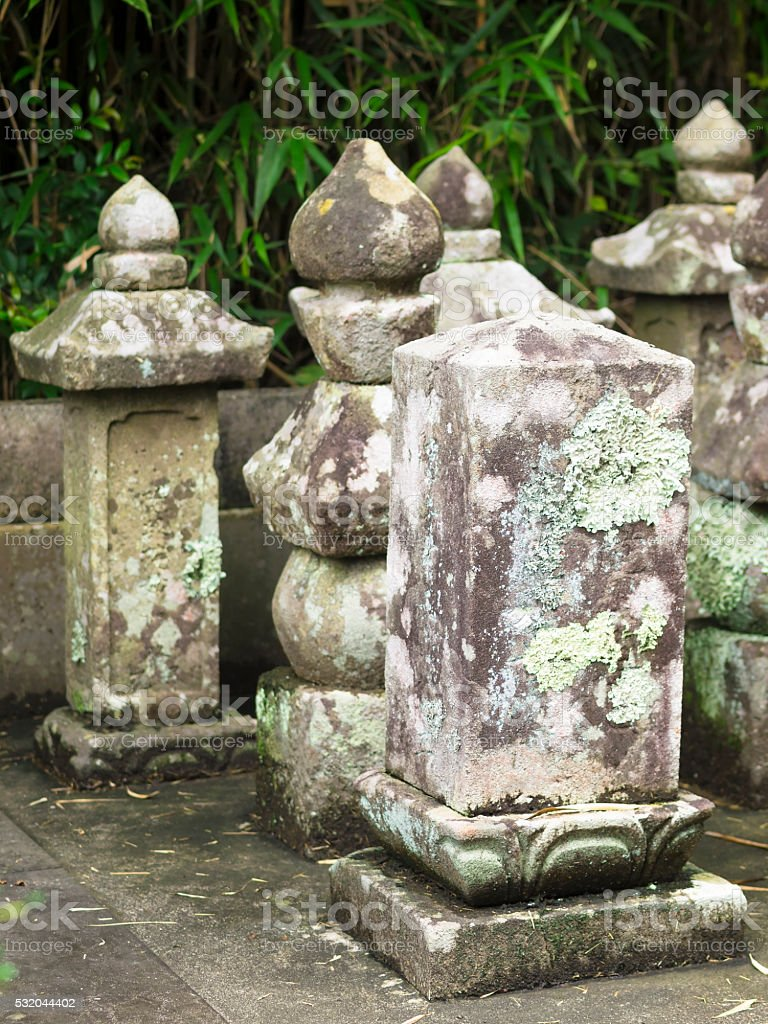 Old tombstones in Japan Cemetery stock photo