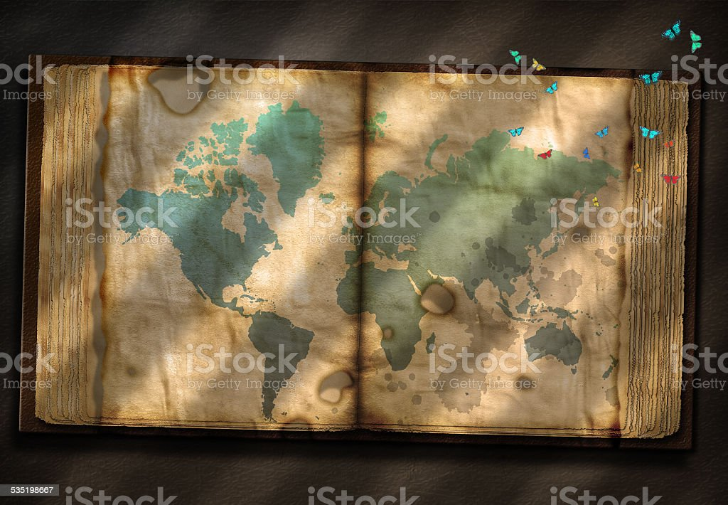Old Tome with World Map stock photo