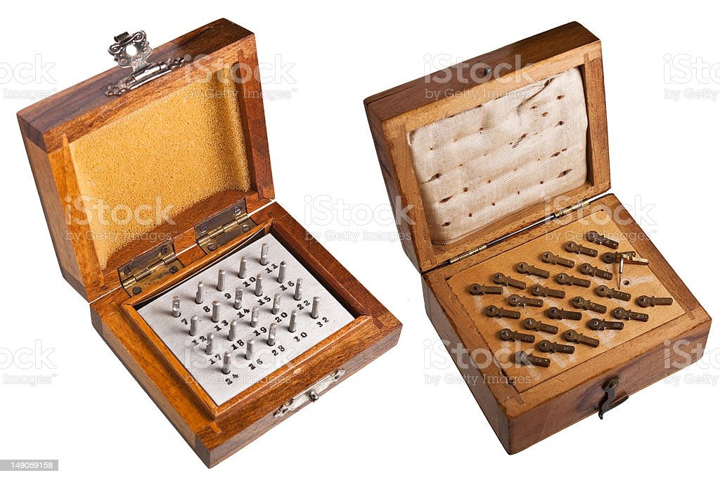 Old toolboxes for watchmakers stock photo
