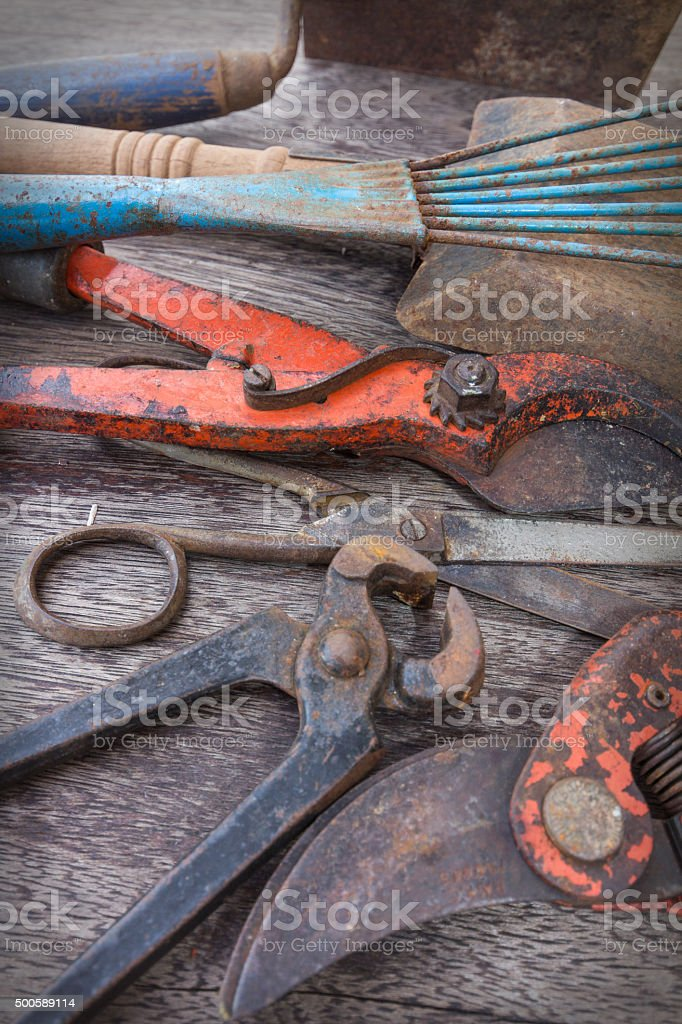 old tools closeup - vintage tool collection stock photo