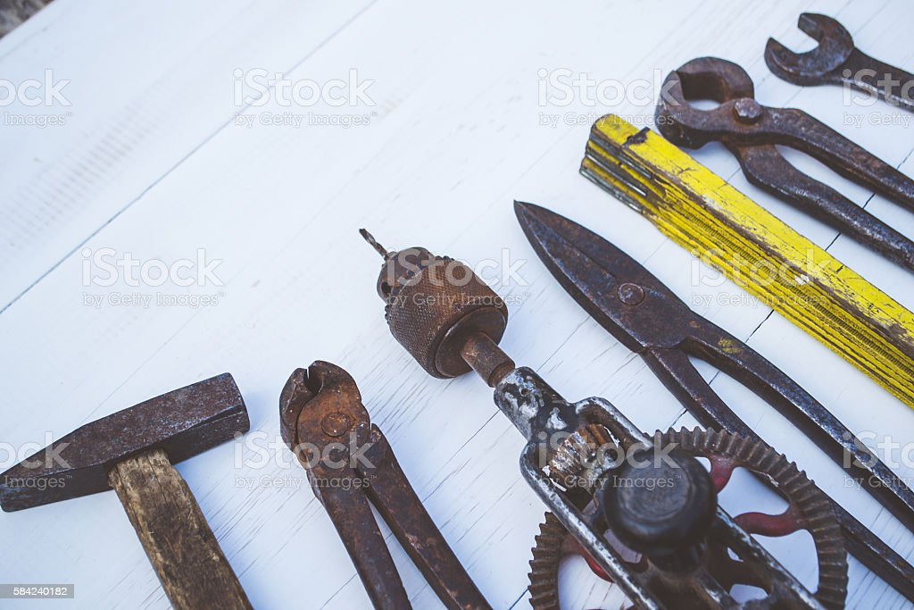 Old tools for the carpenter stock photo