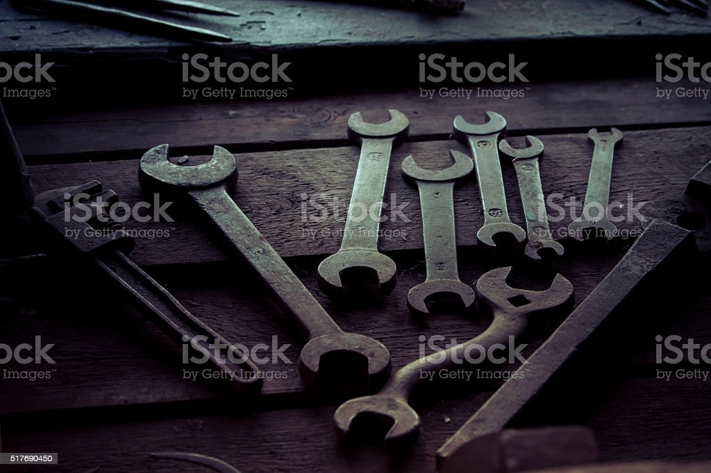 Old Tools in Workshop stock photo