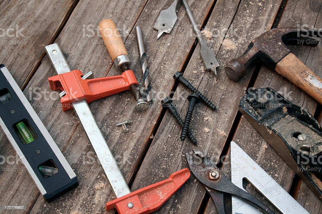 Old tools on wood. royalty-free stock photo