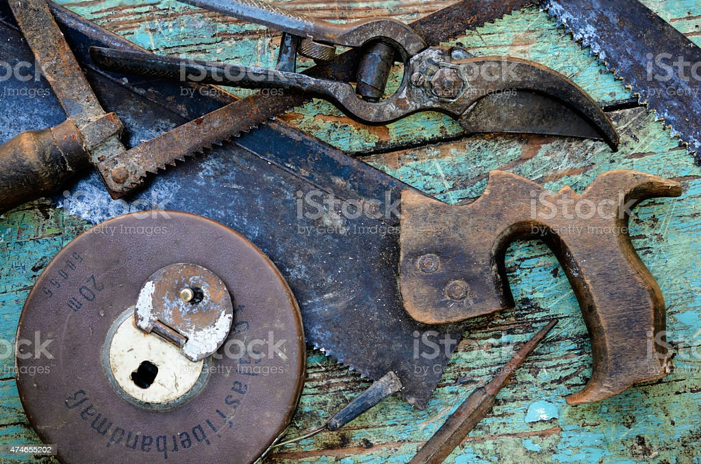 Old Tools on Work Bench stock photo