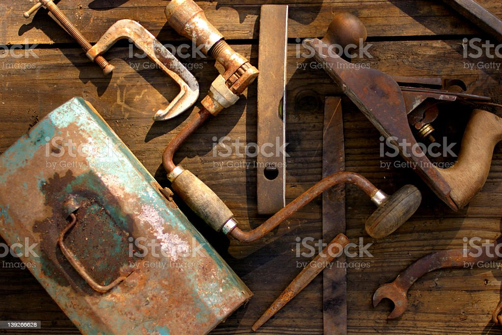 Old tools simplified royalty-free stock photo