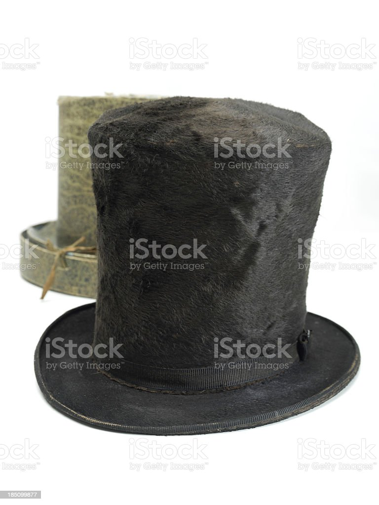 old top hat with original box stock photo
