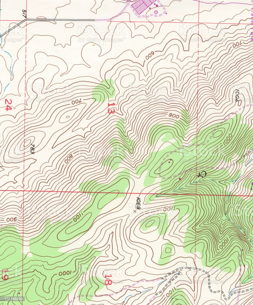 Old Topographical Map Detail stock photo