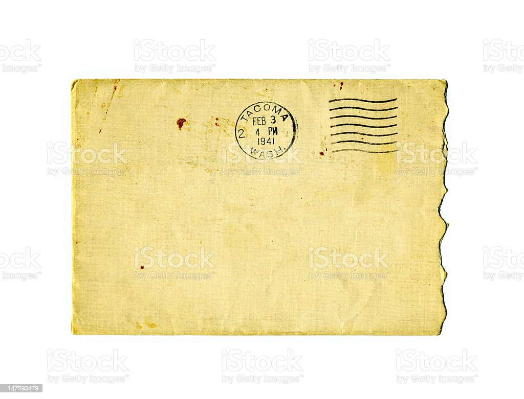 Old torn envelope with 1941 postal stamp royalty-free stock photo