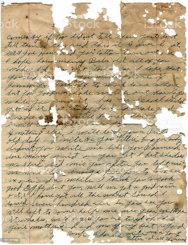Old Torn Letter royalty-free stock photo
