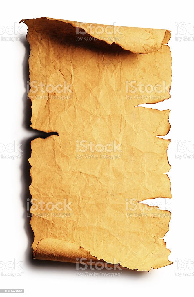 old torn scroll isolated on white royalty-free stock photo
