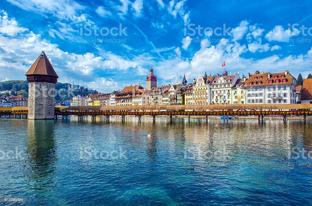 Old Tower and Bridge at Lucerne Switzerland stock photo