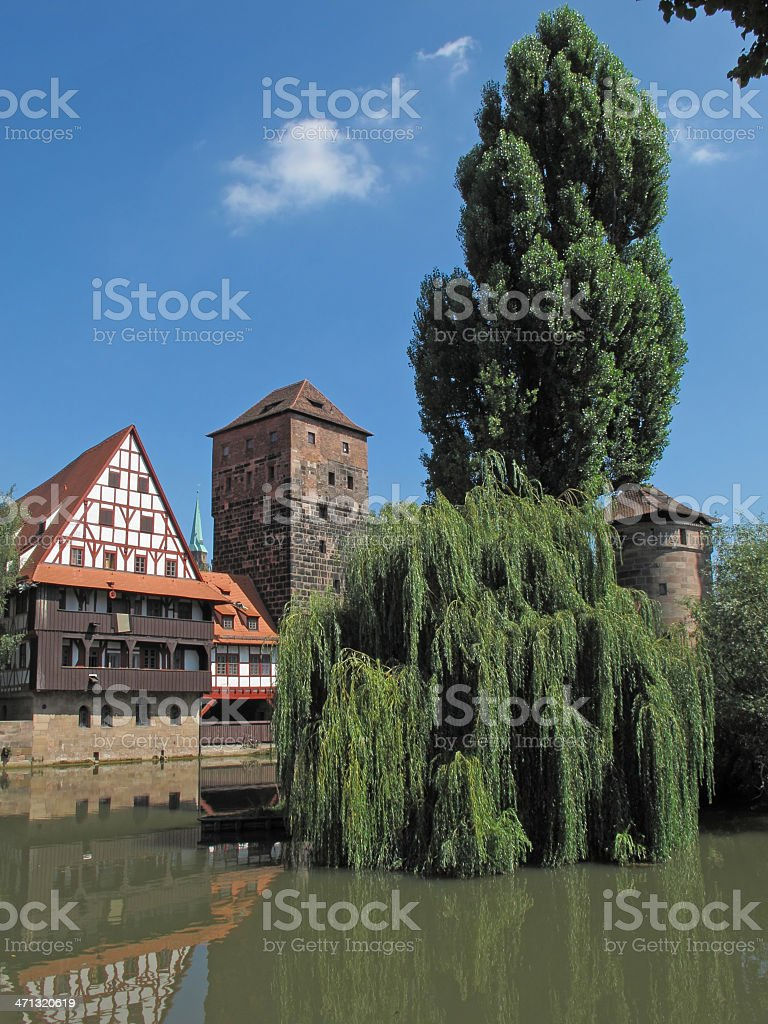 old tower and half timbered house stock photo