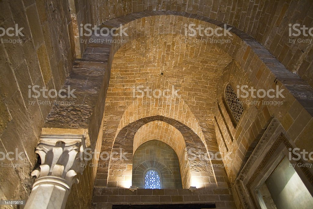old tower in norman palace on Scily stock photo