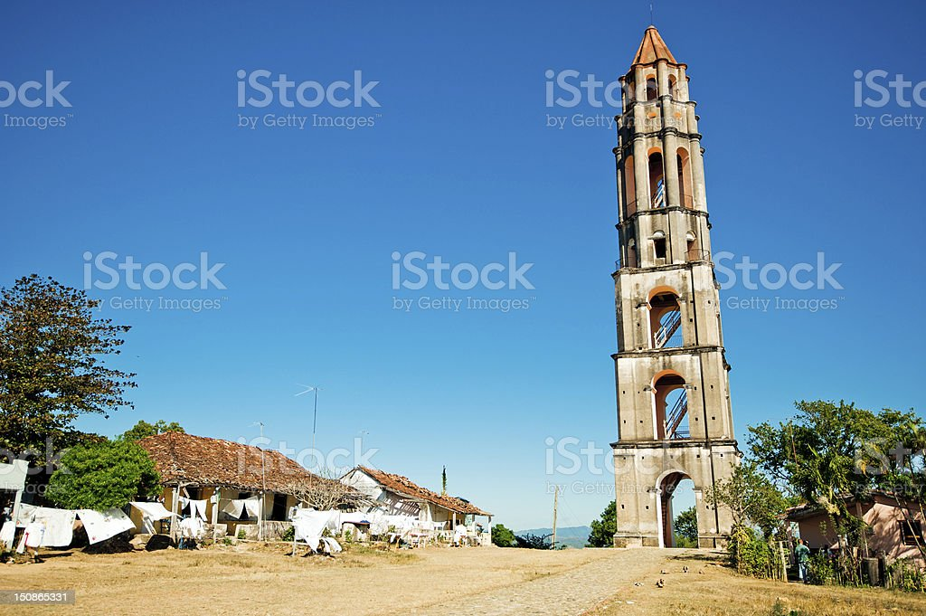 Old tower near Trinidad, Cuba stock photo