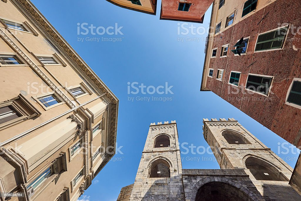 Old Towers in Genova stock photo