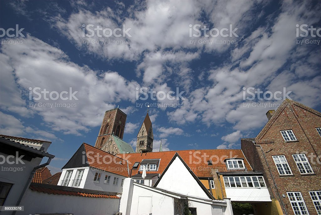 Old town and cathedral stock photo